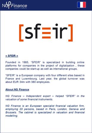 SFEIR - NG Finance a accompagné la société dans la valorisation de certains instruments financiers