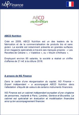ABCD Nutrition - NG Finance a attesté l'équité de valeurs de certains instruments financiers