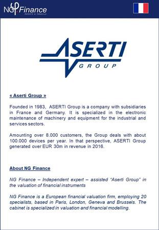 Group Aserti - NG Finance a accompagné la société dans la valorisation de certains instruments finan