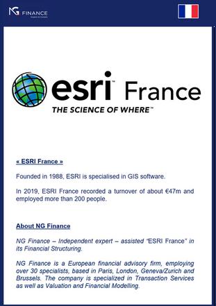 """NG Finance a assisté la société """"ESRI France"""" dans sa Structuration Financière."""