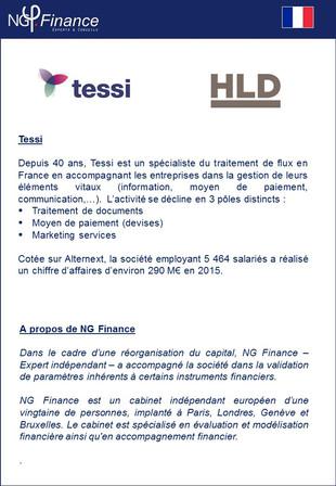 Tessi - NG Finance a accompagné la société dans la validation de paramètres inhérents à certains ins