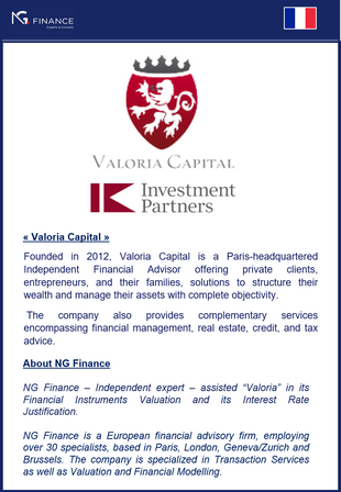 "NG Finance assisted ""Valoria Capital"" in its Financial Instruments Valuation."
