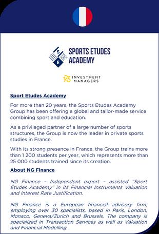 NG Finance a assisté Sports Etudes Academy dans sa valorisation d'instruments financiers