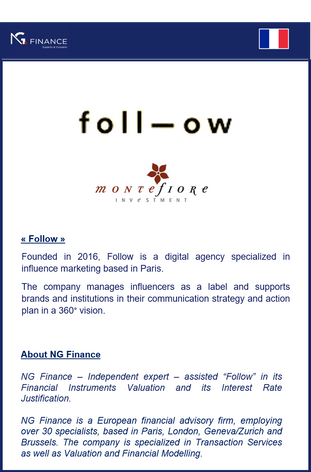 """NG Finance a eu le plaisir d'assister l'entreprise """"Follow"""" en mars 2021."""