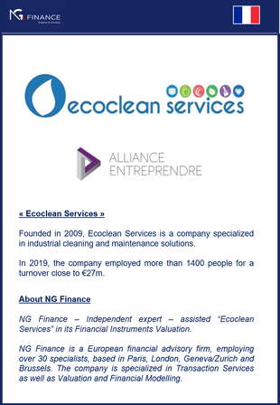 "NG Finance assisted ""Ecoclean Services"" in its Financial Instruments Valuation"