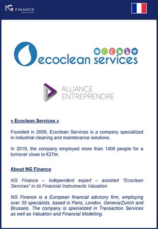 """NG Finance a assisté la société """"Ecoclean Services"""" dans sa valorisation d'instruments fin"""