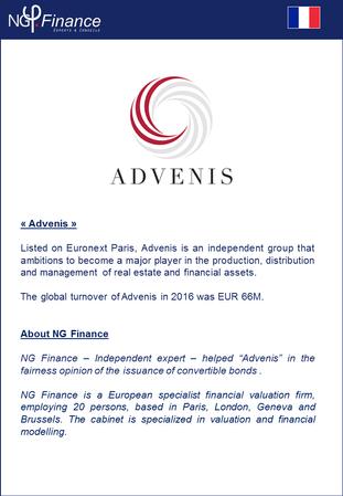 Advenis - NG Finance a attesté l'équité de l'émission d'obligations convertibles réservé