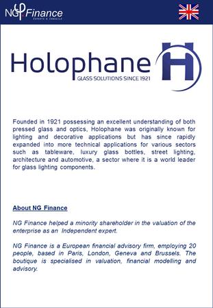 Holophane - NG Finance a accompagné la société dans sa valorisation