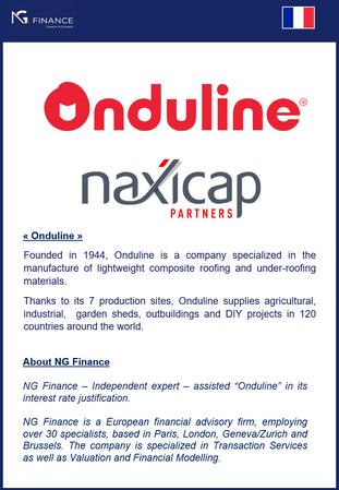 NG Finance a assisté Onduline dans sa valorisation de taux d'intérêt