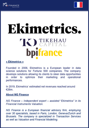 """NG Finance assisted """"Ekimetrics"""" in its Financial Instruments Valuation."""