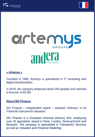 "NG Finance assisted ""Artemys"" in its Financial Instruments Valuation."