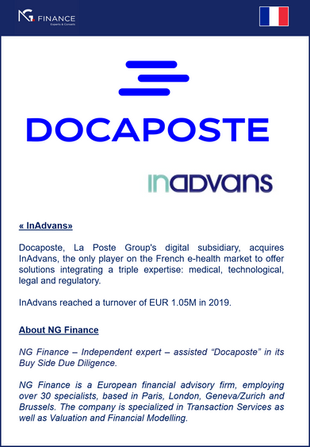 "NG Finance assisted ""Docaposte"" in its Buy Side Due Diligence."