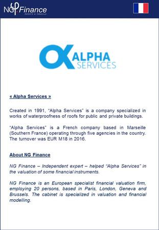 Alpha Services - NG Finance a accompagné la société dans la valorisation de certains instruments fin