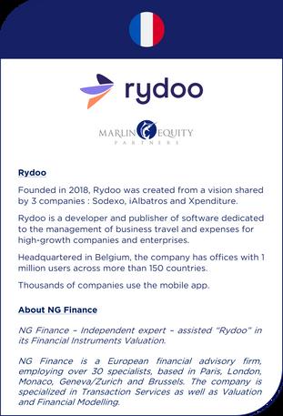 NG Finance a assisté Rydoo dans sa valorisation d'instruments financiers