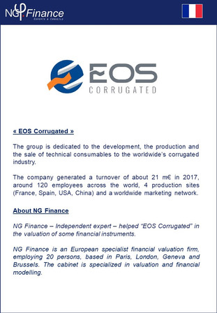 EOS Corrugated- NG Finance a accompagné la société EOS Corrugated dans la Valorisation d'instruments