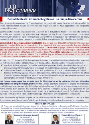 Newsletter : Déductibilité des intérêts obligatoires : un risque fiscal accru
