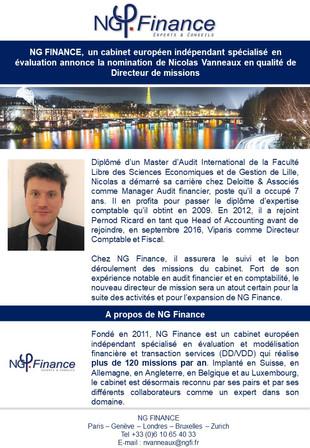 Nomination de Nicolas Vanneaux en tant que Directeur de missions