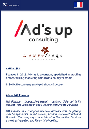 """NG Finance assisted """"Ad's up consulting"""" in its Financial Instruments Valuation and it"""