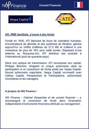 Opération LBO: Vespa Capital - NG Finance a réalisé un évaluation indépendante d'instruments fin