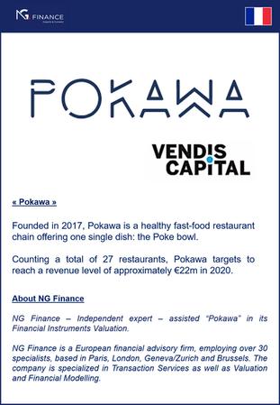 """NG Finance a assisté la société """"Pokawa"""" dans sa valorisation d'instruments financiers."""