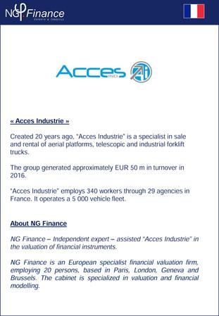 Acces Industrie - NG Finance a accompagné la société dans la valorisation de certains instruments fi