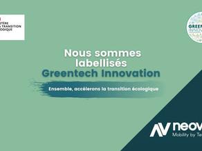 Neovya, maintenant labélisée GreenTech Innovation !