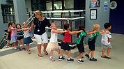 School kids in a line