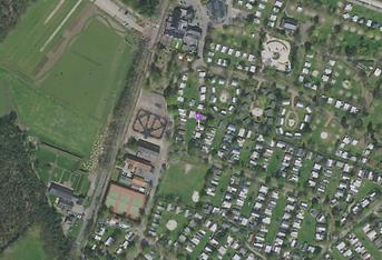 locatie van chalet 60-7 op een luchtfoto