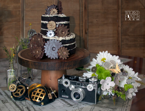 Steampunk Wedding Cake, Table Decor