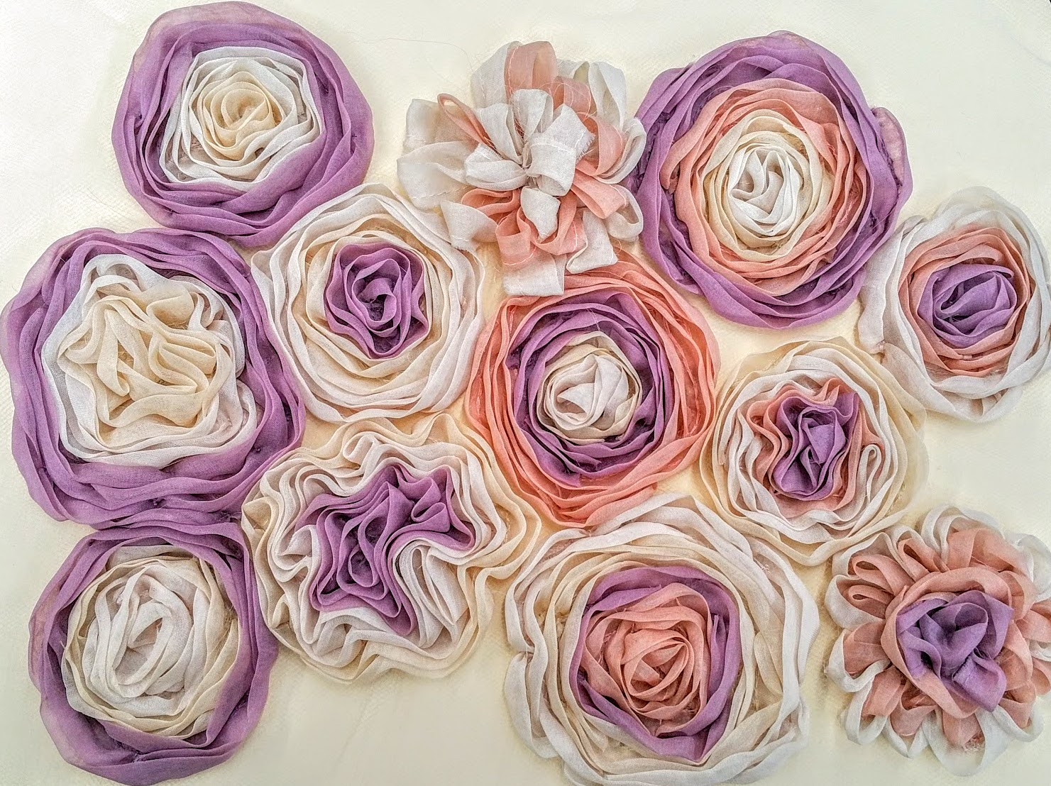 Spiral organza flowers