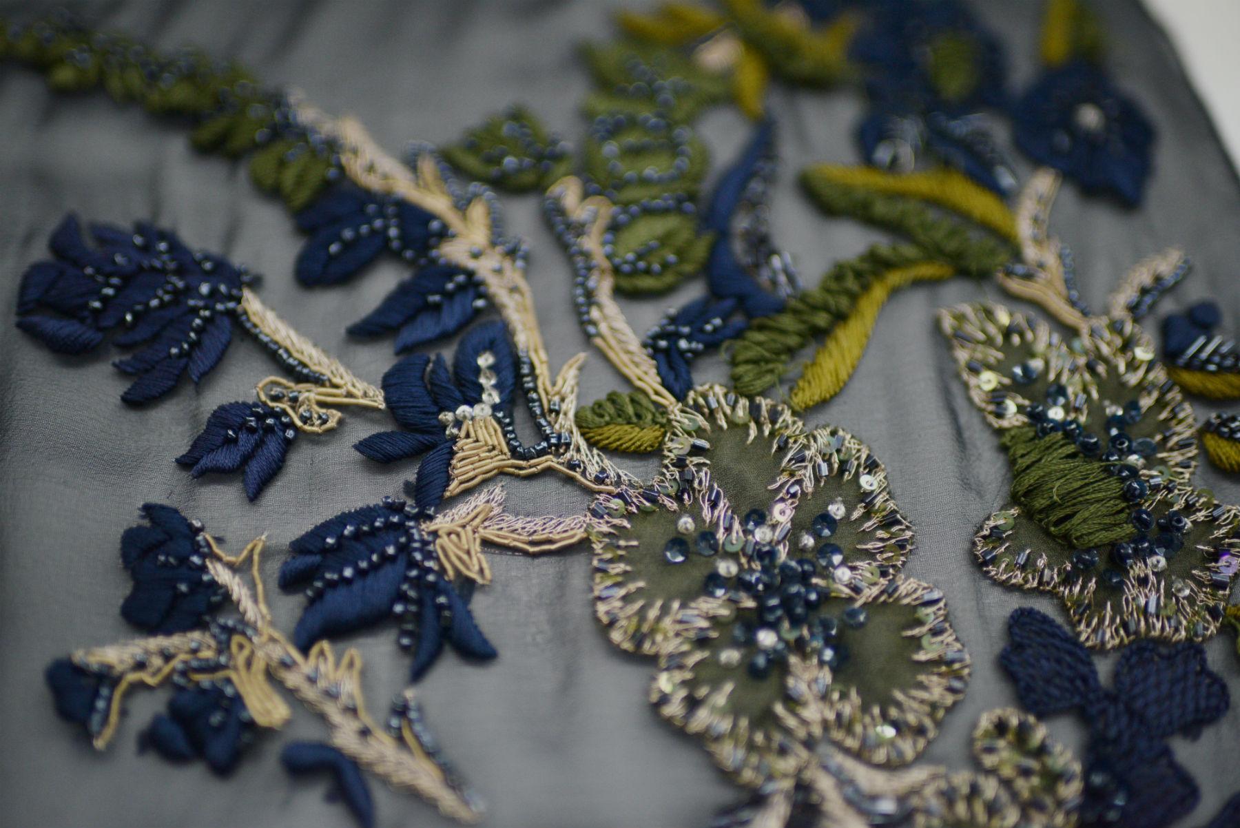 Bullion and threadwork floral