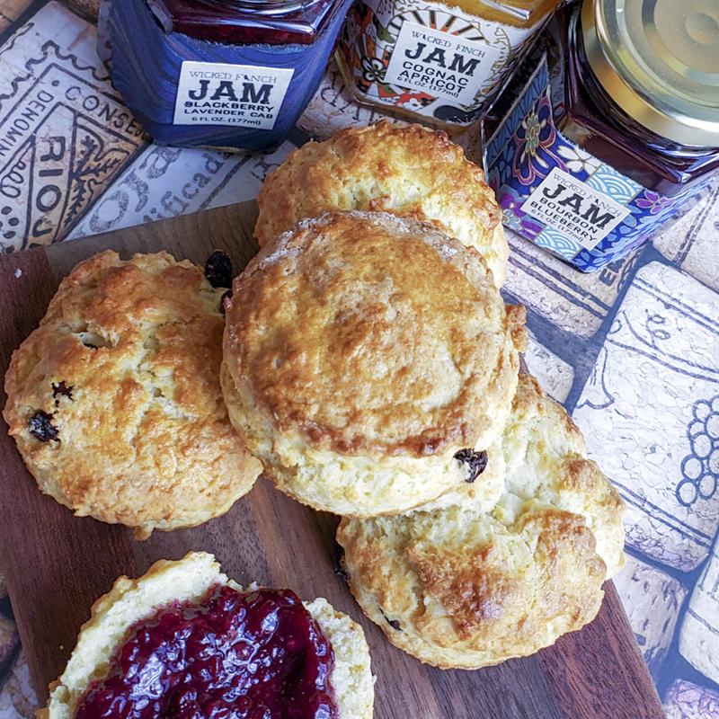 scones with boozy jam