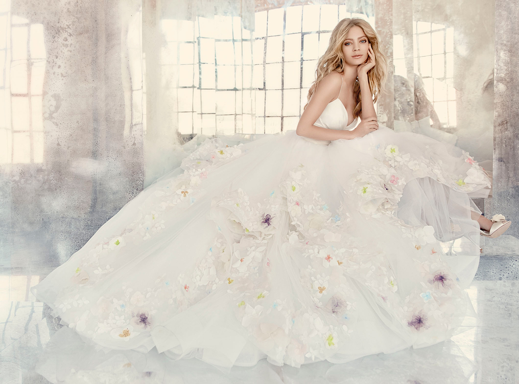 hayley-paige-bridal-tulle-ball-marzipan-floral-draped-taffeta-v-spaghetti-appliques-cascading-tiered
