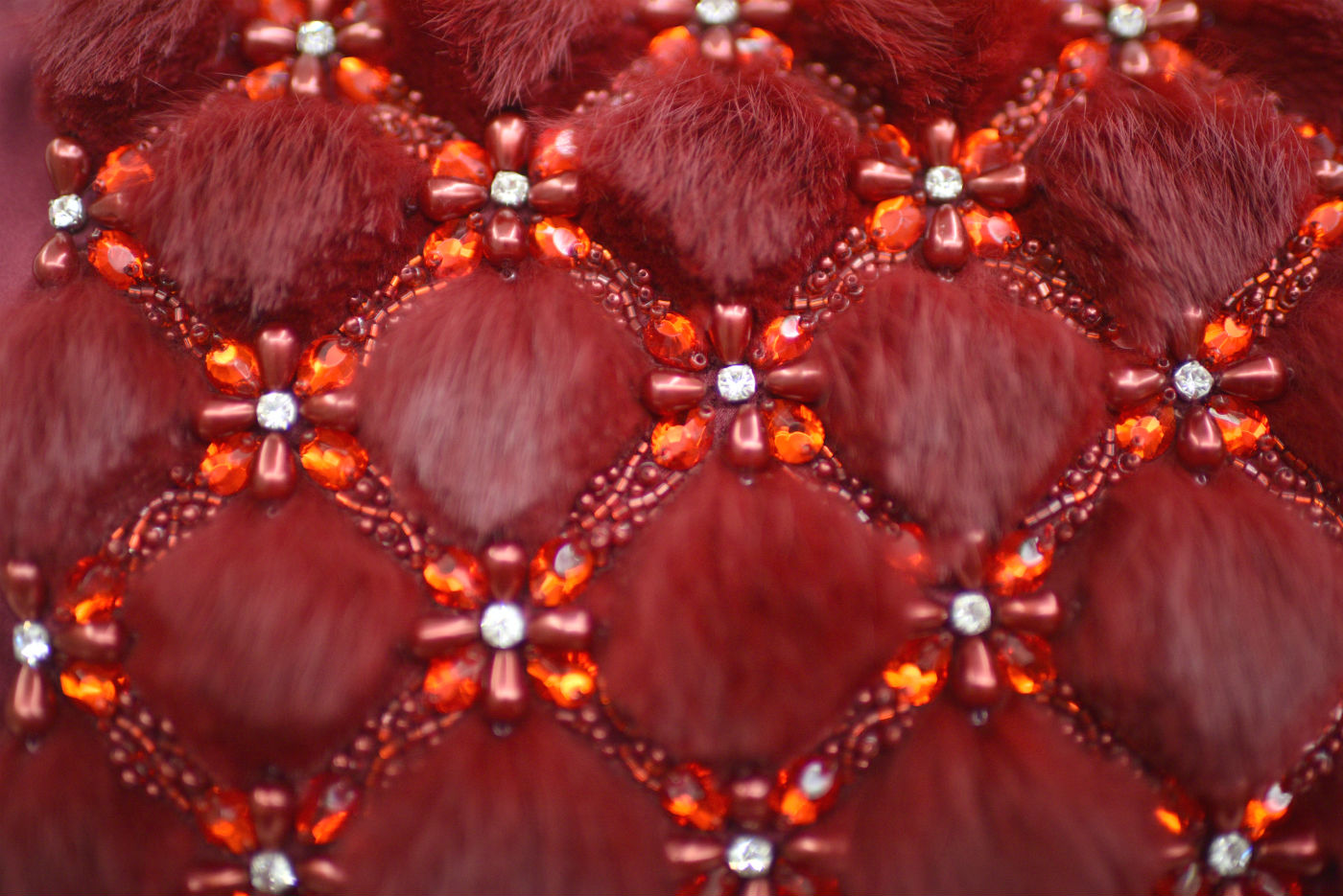 Hand beaded red fur