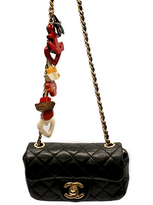 Chanel Black Quilted Leather Charms CC Mini Single Flap Bag