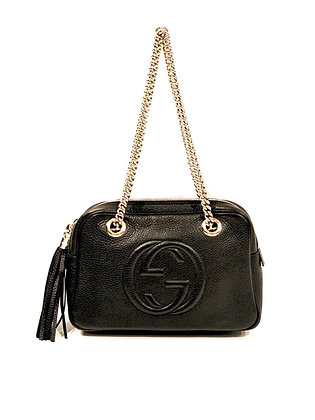 Gucci Black Leather Double-Chain-Strap Shoulder Bag