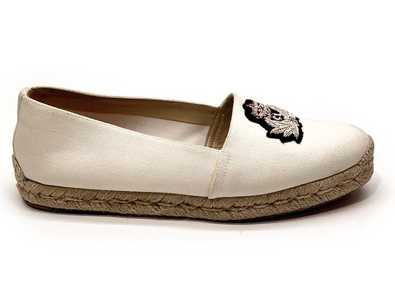 Christian Louboutin White Canvas Gala Embroidered Crest Espadrilles Loafers