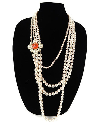 Chanel Multistrand Pearl Long Necklace - Coral Flower CC Charm 2014