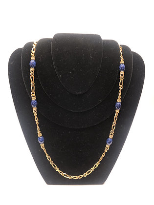 Christian Dior Gold-Tone Blue Stones Necklace