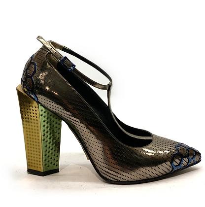 Fendi T-Strap Block Heel Shoes T.38