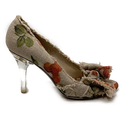 D & G Cherry Peep-Toe Acrylic Heel Shoes