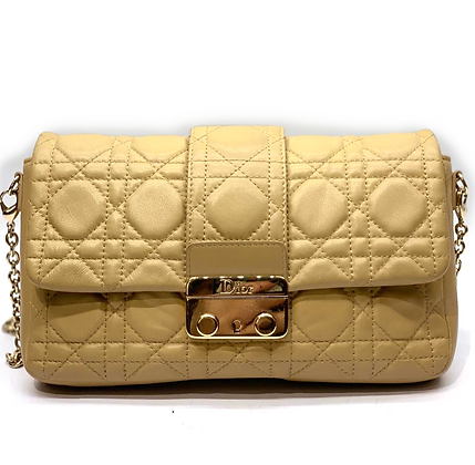 Christian Dior Beige Cannage Quilted Lambskin Leather Miss Dior Promenade Pouch