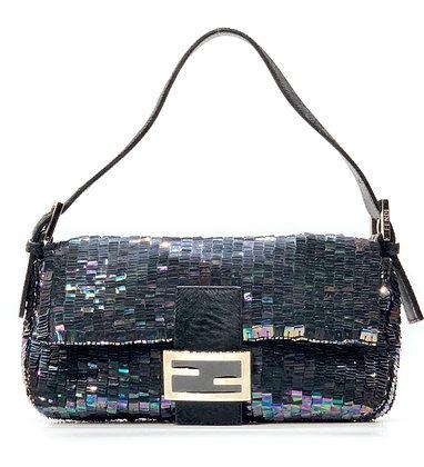 Fendi Grey Sequin Baguette Shoulder Bag