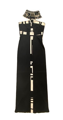 Emilio Pucci Signature Print Silk Gown Dress With Beaded Fringe Collar