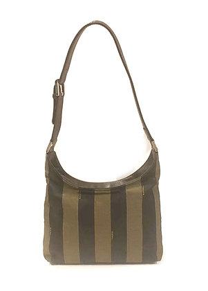 Fendi Vintage Pequin Canvas Hobo Bag