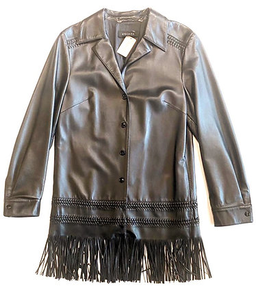 Escada Black Fringe Leather Coat