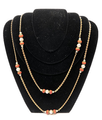 Antique Crystal Faux Coral and Gold-Tone Necklase
