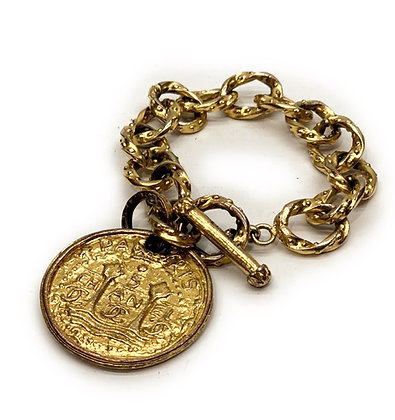 Chanel Gold Plated Oversized Tarot Coin Chain Bracelet