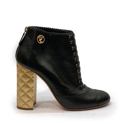 Chanel Gold Quilted Block Heel Booties