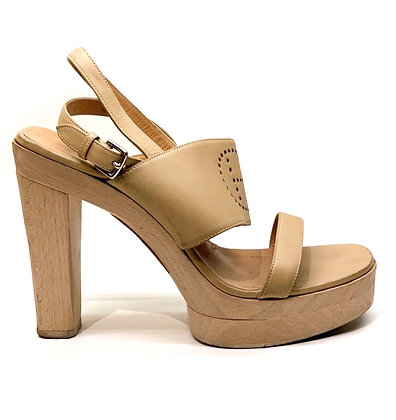 Hermes Beige Leather Logo Platform Sandals